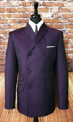 """Garwood"" Double Breasted Purple Two Tone Suit"